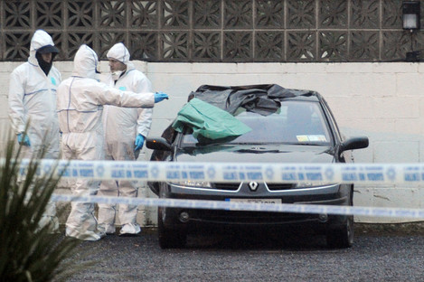 Gardai at the scene of the fatal shooting of Peter Butterly at  the Huntsman Inn near Gormanstown, Co Meath