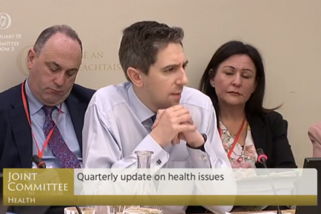 Simon Harris addressing the Oireachtas Health Committee this morning