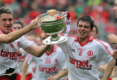 Ryan Devlin and Shea McGarrity celebrate with the Tom Markham Cup. Next year's minor All-Ireland finals will be broadcast on TV3 for the first time.
