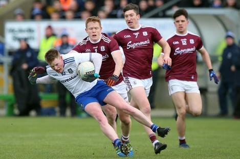 Monaghan's Ryan McAnespie with Galway's Ciaran Duggan.