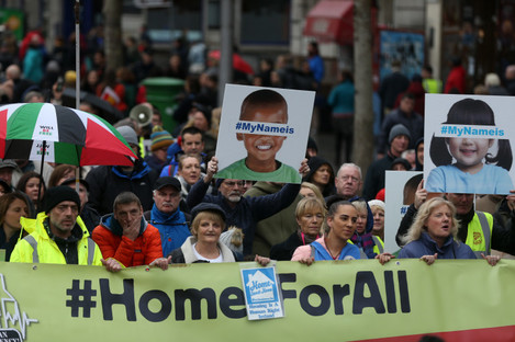 Thousands of people take to the streets of Dublin last year to protest and demand Homes for All.
