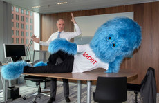 The Dutch government is using a giant blue mascot to warn of Brexit risks