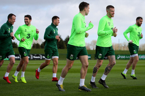 Ireland players train ahead of the match.