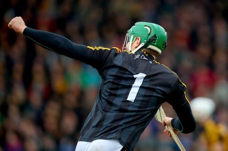 Eoin Murphy celebrates his winning point for Kilkenny.