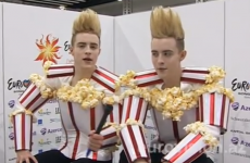 VIDEO: Jedward dress up as tubs of popcorn (literally) at the Eurovision