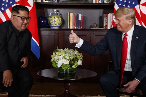 Donald Trump meets North Korean leader Kim Jong Un in Singapore in June 2018.