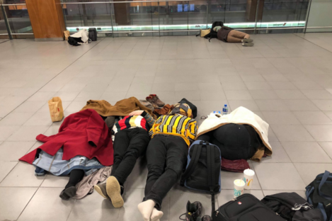 Passengers in Dublin Airport who were stranded after their flight to Manchester was cancelled.