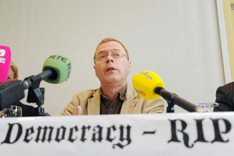 Economist Dr Andy Storey (UCD) pictured at a press conference in the Mont Clare Hotel in Dublin organised by the Campaign Against Austerity Treaty
