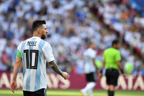 Messi during his most recent international appearance, the 4-3 loss to France at the World Cup.