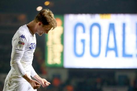 Bamford celebrates scoring in Leeds' win against West Brom last week.