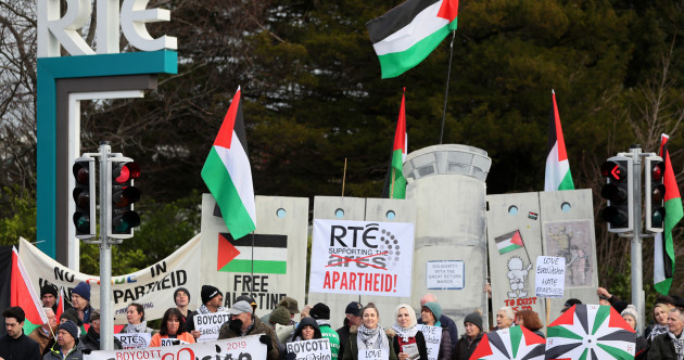 'Stand on the right side of history': Protest outside RTÉ calls for broadcaster to boycott Eurovision