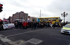 Part of O'Connell Bridge in Dublin blocked by International Women's Day protestors