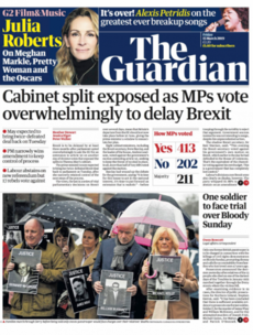 'One last roll of the dice': How Britain's newspapers are covering the vote to delay Brexit