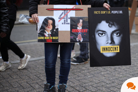 Michael Jackson fans protest outside Channel 4 offices re: Leaving Neverland documentary.