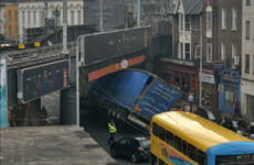 Train services resume in Dublin city after earlier collision where a truck hit a bridge