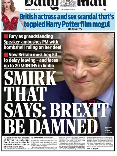 'The Brexit destroyer': British papers round on Speaker Bercow after step to block May's vote