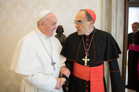 Cardinal Philippe Barbarin meets Pope Francis yesterday.