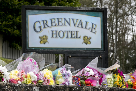Flower tributes outside Greenvale Hotel, Cookstown, Co Tyrone