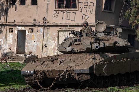 An Israeli tank in the Israeli-occupied Golan Heights.
