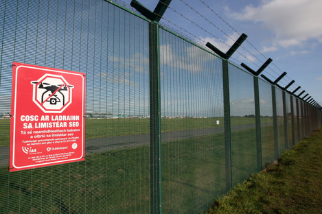 File photo - Signs advising the public that Dublin Airport is a Drone Free Zone