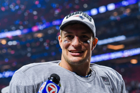 Gronkowski pictured after last month's Super Bowl victory in Georgia.