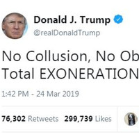'Complete and total exoneration': Trump rejoices in Mueller findings but Democrats want full report published