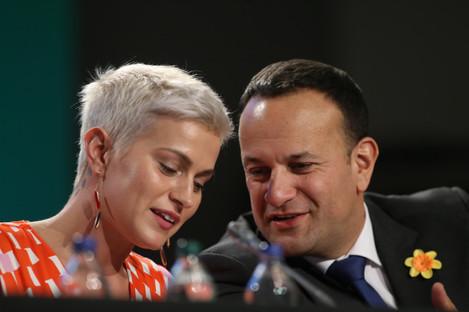 Fine Gael's European Parliament election candidate for Midlands/ North-West Maria Walsh and Taoiseach Leo Varadkar