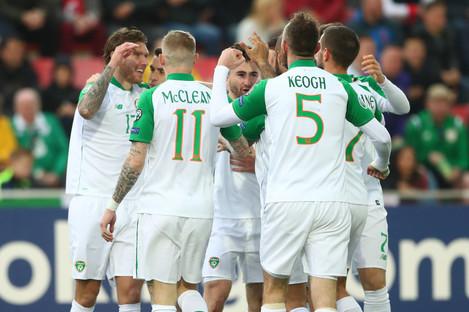 Ireland players celebrate after Jeff Hendrick scored on Saturday.