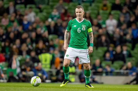 Glenn Whelan in action during his most recent Irish appearance against Northern Ireland.