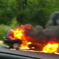 Video: Car catches fire on Dublin's M50