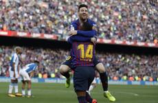 Dazzling Messi free-kicks caps Barcelona win in Catalan derby as Espanyol crumble