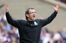 Pat Fenlon denies gesture at fans as Hibs hammered by Hearts in cup final