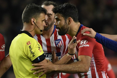 Costa was shown a straight red card.