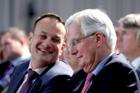 Taoiseach Leo Varadkar and Michel Barnier during a press conference at Dundalk Institute of Technology, April 2018.