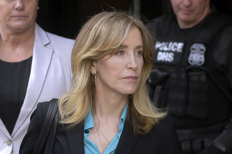 Actress Felicity Huffman arriving at federal court in Boston
