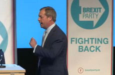 Nigel Farage speaks at Brexit Party's first rally, as crowd boos mention of Macron and Obama