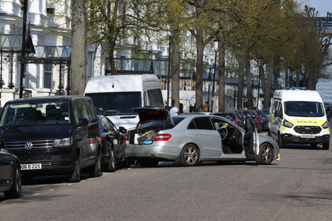 "The scene near the Ukrainian Embassy in Holland Park, west London after police fired shots after the ambassador's car was ""deliberately rammed""."