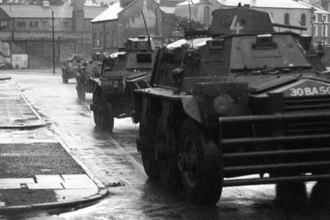 Troops moving in during Operation Motorman