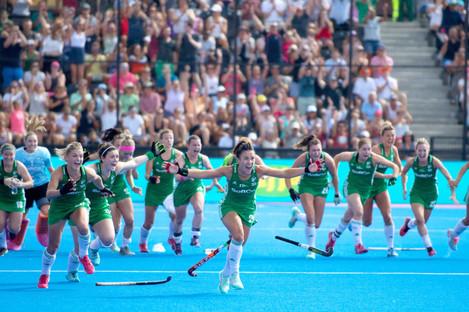 Ireland players celebrate in London last summer.