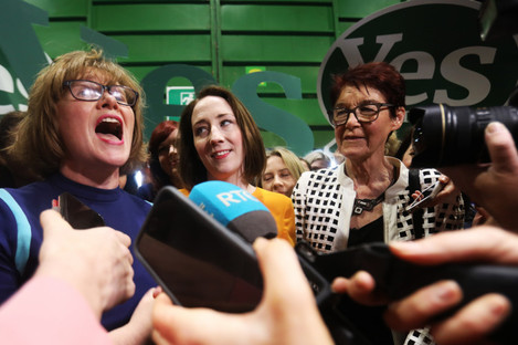 (L to R) Orla O'Connor, Grainne Griffin, Ailbhe Smyth in the RDS during the referendum count.