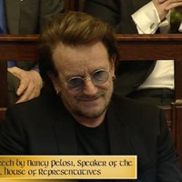 Bono pays a visit to the Dáil to hear US Speaker Nancy Pelosi speak