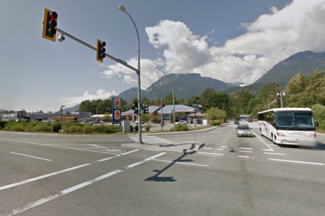 The scene of the collision in Squamish