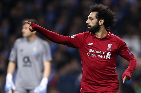 Mo Salah celebrates his goal.