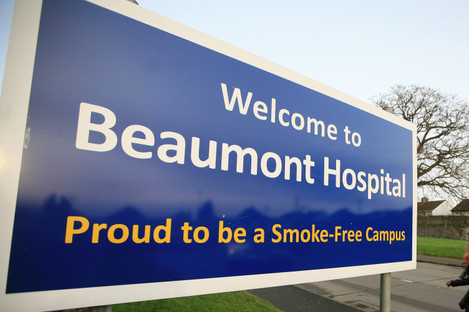 A sign at the entrance to Beaumont Hospital