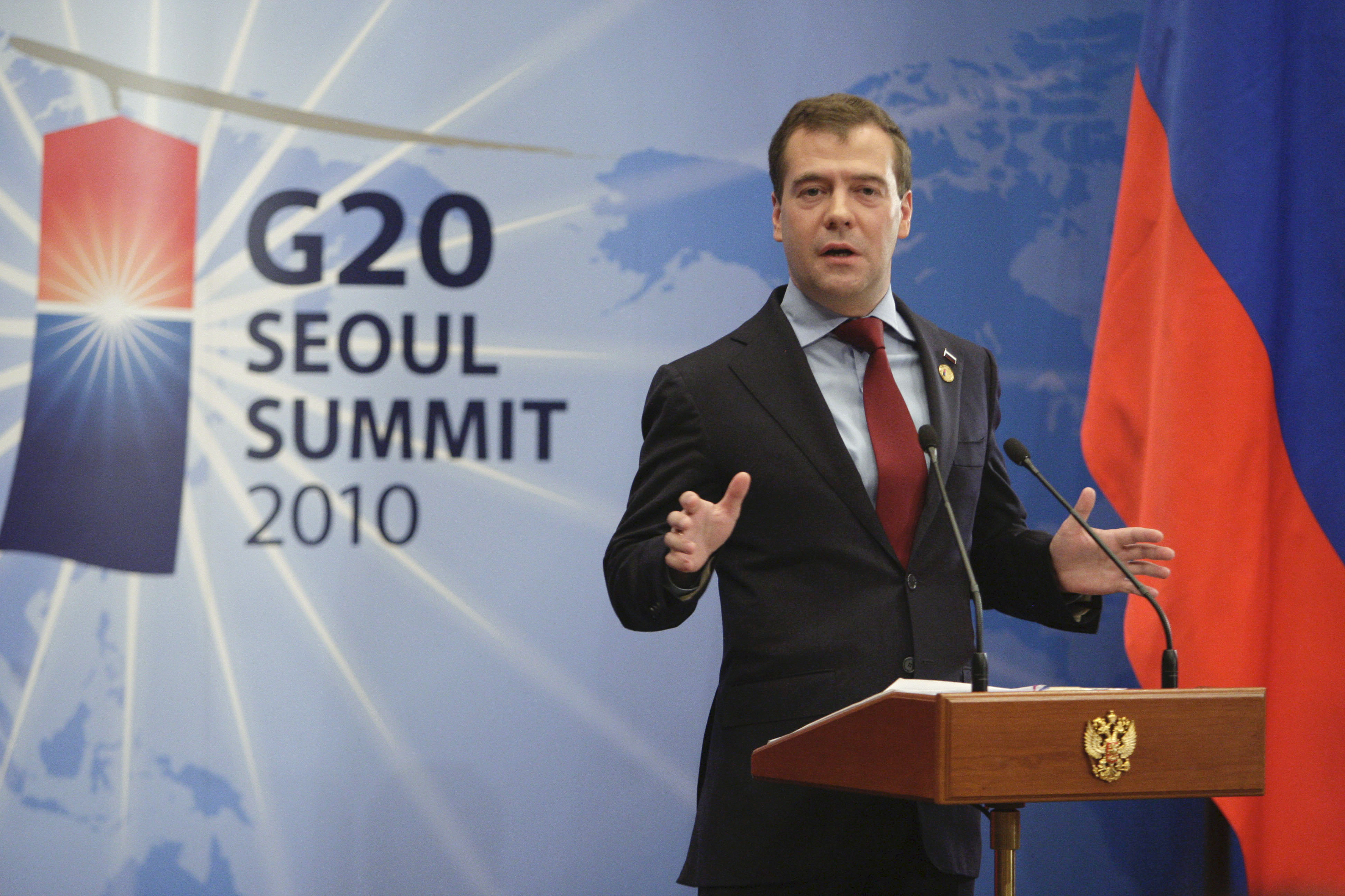 Russian president Dimitry Medvedev speaks to reporters at the conclusion of the G20 summit in Seoul.