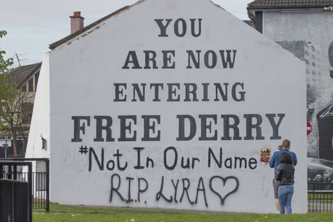 A message on Free Derry Corner.