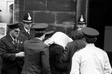 Peter Sutcliffe being escorted into court during his trial in 1981.