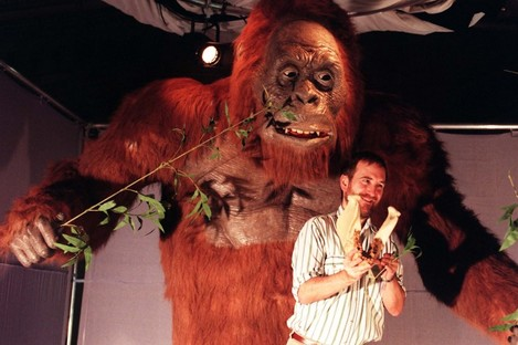 A Natural History Museum London researcher with a model showing what the mythical Yeti could have looked like