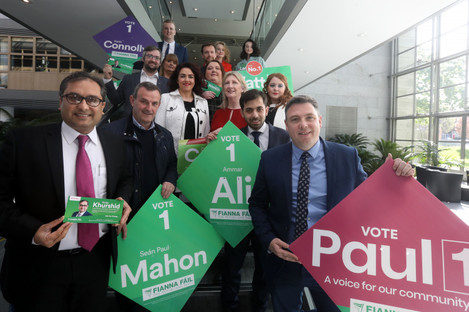 Fianna Fail candidates hand in their papers in Dublin.