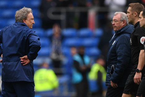Neil Warnock confronts officials (file pic).